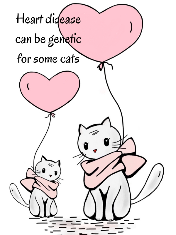 Drawing of cats with heart-shaped balloons
