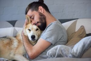 dog snuggling quarantine