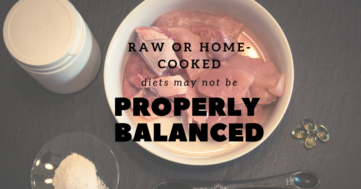 Raw or home-cooked diets may not be properly balanced