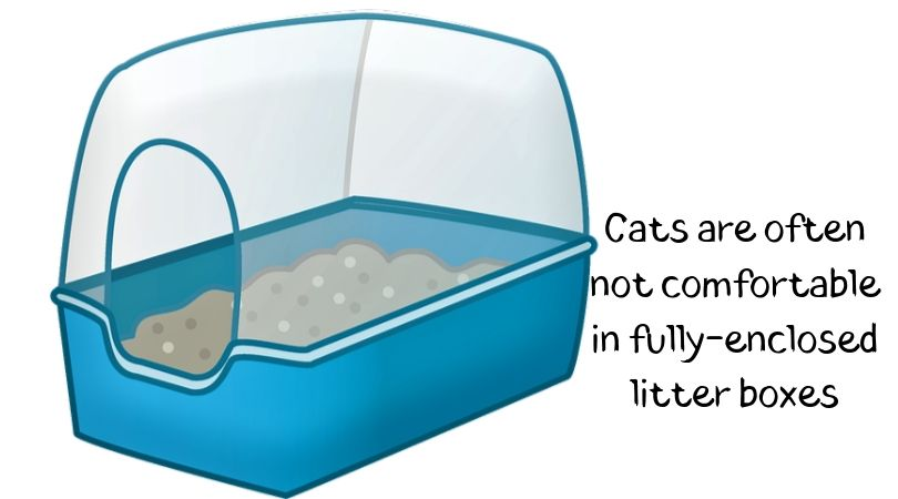 An illustration of an enclosed litter box
