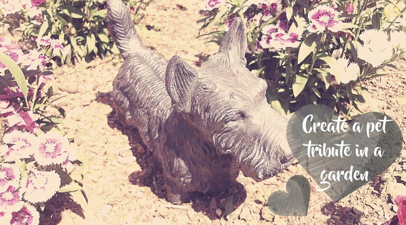 Dog statue in a garden